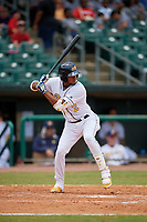 Montgomery Biscuits Jermaine Palacios (2) at bat during a Southern League game against the Mobile BayBears on May 2, 2019 at Riverwalk Stadium in Montgomery, Alabama.  Mobile defeated Montgomery 3-1.  (Mike Janes/Four Seam Images)