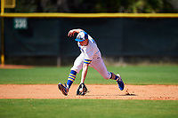 South Dakota State Jackrabbits shortstop Gus Steiger (3) fields a ground ball during a game against the FIU Panthers on February 23, 2019 at North Charlotte Regional Park in Port Charlotte, Florida.  South Dakota State defeated FIU 4-3.  (Mike Janes/Four Seam Images)
