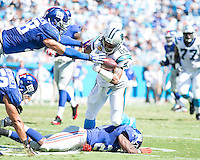 The Carolina Panthers played the New York Giants at Bank of America Stadium in Charlotte, NC.  The Panthers won 38-0 for their first victory of the season.  The Giants dropped to 0-3.  Carolina Panthers wide receiver Steve Smith (89), New York Giants middle linebacker Mark Herzlich (58)