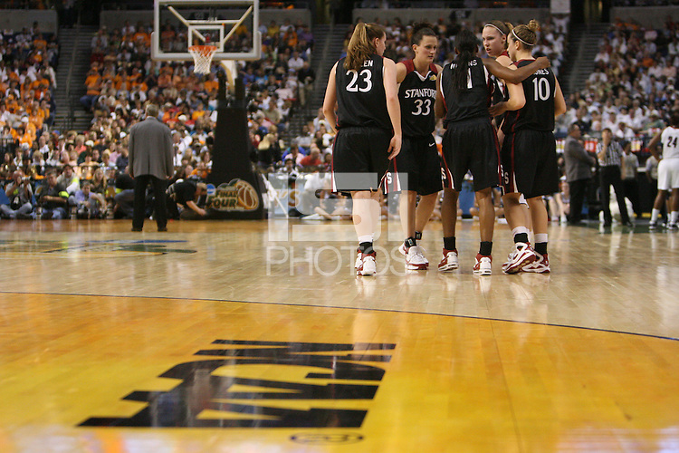 6 April 2008: Stanford Cardinal (L-R) Jeanette Pohlen, Jillian Harmon, Candice Wiggins, Kayla Pedersen, and JJ Hones during Stanford's 82-73 win against the Connecticut Huskies in the 2008 NCAA Division I Women's Basketball Final Four semifinal game at the St. Pete Times Forum Arena in Tampa Bay, FL.