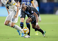 CARSON, CA - SEPTEMBER 21: Rod Fanni #16 of the Montreal Impact chases down a ball during a game between Montreal Impact and Los Angeles Galaxy at Dignity Health Sports Park on September 21, 2019 in Carson, California.