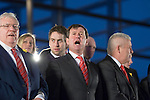The Welsh rugby team celebrate winning the Grand Slam in the Six Nations rugby tournament at The Senydd in Cardiff Bay..WRU President Dennis Gethin and Chief Executive Roger Lewis singing the Welsh National Anthem.