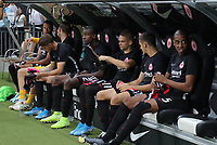 Ersatzbank Eintracht: Torwart Felix Wiedwald (Eintracht Frankfurt), Timothy Chandler (Eintracht Frankfurt), Evan N'Dicka (Eintracht Frankfurt), Gelson Fernandes (Eintracht Frankfurt), Dejan Joveljic (Eintracht Frankfurt), Mijat Gacinovic (Eintracht Frankfurt) - 29.08.2019: Eintracht Frankfurt vs. Racing Straßburg, UEFA Europa League, Qualifikation, Commerzbank Arena<br /> DISCLAIMER: DFL regulations prohibit any use of photographs as image sequences and/or quasi-video.