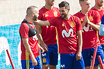 Andres Iniesta, Marco Asensio, David Villa, Gerard Delufeu and Pepe Reina during the training of the spanish national football team in the city of football of Las Rozas in Madrid, Spain. August 28, 2017. (ALTERPHOTOS/Rodrigo Jimenez)