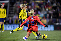 COLUMBUS, OH - NOVEMBER 07: Lindsey Horan #9 of the United States turns with the ball during a game between Sweden and USWNT at MAPFRE Stadium on November 07, 2019 in Columbus, Ohio.