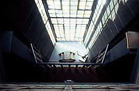 C.R. Mackintosh: Glasgow School of Art, West Windows, 1907-09. Looking down from Library Gallery. (Photo '87)