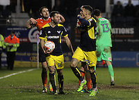 Marvin Johnson of Oxford United celebrates scoring their third goal during the The Checkatrade Trophy Semi Final match between Luton Town and Oxford United at Kenilworth Road, Luton, England on 1 March 2017. Photo by Stewart  Wright  / PRiME Media Images.