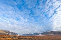 First snowfall of the year (termination dust) on the Kigluaik mountains along the Kougarok road, Seward peninsula, western Arctic, Alaska.