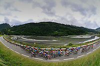 5th June 2021; La Plagne, Tarentaise, France; The peloton during stage 7 of the 73th edition of the 2021 Criterium du Dauphine Libere cycling race, a stage of 171km with start in Saint-Martin-Le-Vinoux and finish in La Plagne