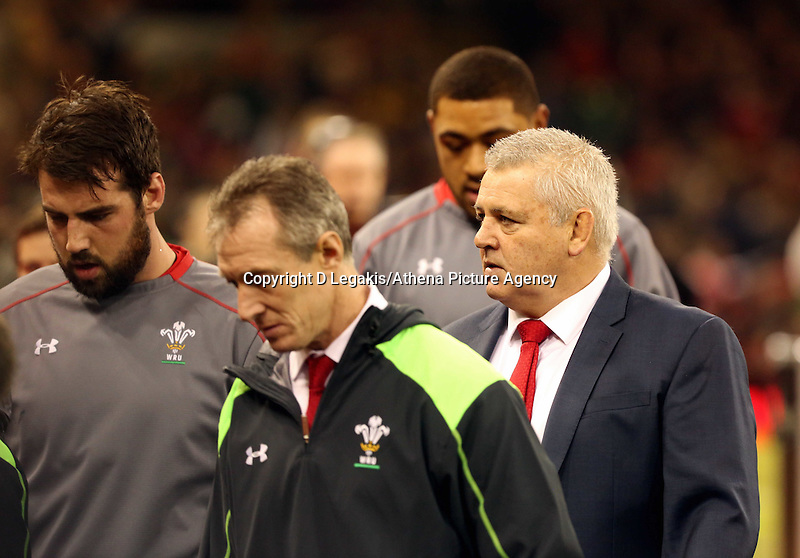 Pictured: Warren Gatland manager for Wales (R) Saturday 29 November 2014<br /> Re: Dove Men Series 2014 rugby, Wales v South Africa at the Millennium Stadium, Cardiff, south Wales, UK.