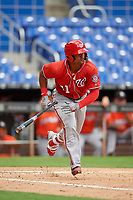 Washington Nationals Anderson Franco (11) runs to first base during a Florida Instructional League game against the Miami Marlins on September 26, 2018 at the Marlins Park in Miami, Florida.  (Mike Janes/Four Seam Images)