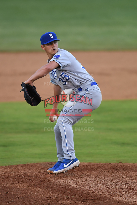 Burlington Royals relief pitcher Noah Bryant (35) throws to a batter during a game with the Bristol Pirates at Boyce Cox Field on June 19, 2019 in Bristol, Virginia. The Royals defeated the Pirates 1-0. (Tracy Proffitt/Four Seam Images)