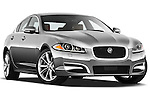 Low aggressive passenger side front three quarter view of a 2012 Jaguar XF Portfolio