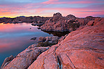 Colorful sunset at Watson Lake near Prescott, Arizona