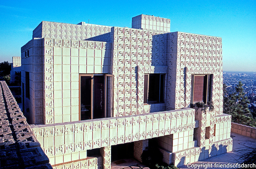 F.L. Wright: Ennis-Brown House, West Elevation. Foreground left--rail of overpass of driveway.  Photo '86.