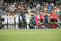 3rd January 2021; Campbelltown Stadium, Leumeah, New South Wales, Australia; A League Football, Macarthur FC versus Central Coast Mariners; Mark Milligan of Macarthur FC leads his team out onto the pitch at their first A-League home game