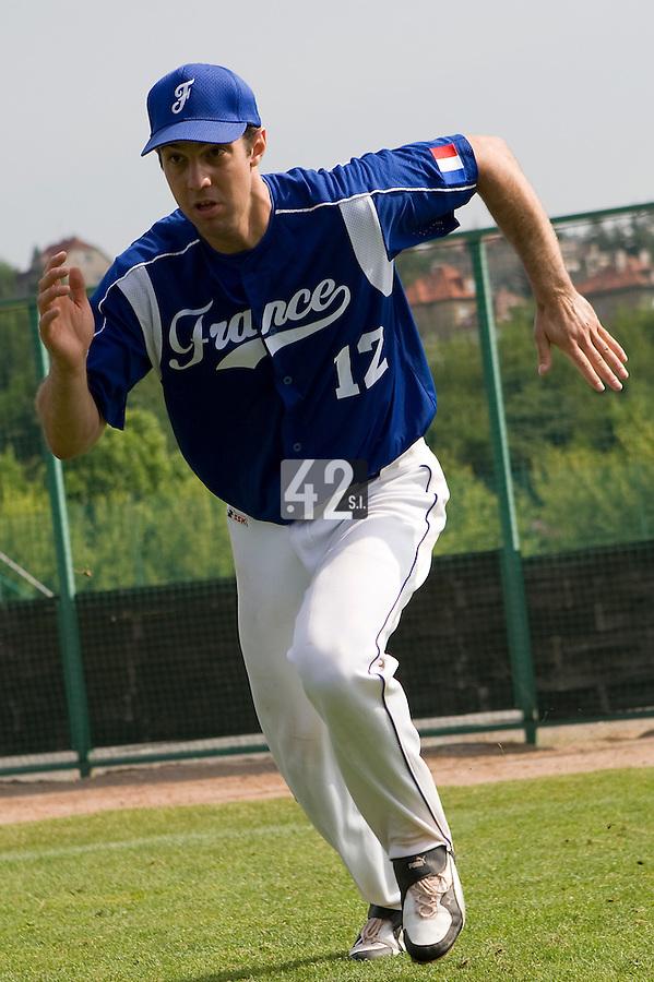 BASEBALL - GREEN ROLLER PARK - PRAGUE (CZECH REPUBLIC) - 25/06/2008 - PHOTO: CHRISTOPHE ELISE. SEBASTIEN BOYER (TEAM FRANCE)
