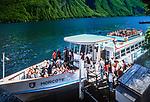 Schweiz, Tessin, Gandria am Luganer See: Seerundfahrt mit dem Ausflugsschiff MORCOTE | Switzerland, Ticino, Gandria at Lago Lugano: lake cruise with M/S MORCOTE