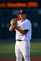 Bradenton Marauders starting pitcher Colten Brewer (32) gets ready to deliver a pitch during a game against the Fort Myers Miracle on April 9, 2016 at McKechnie Field in Bradenton, Florida.  Fort Myers defeated Bradenton 5-1.  (Mike Janes/Four Seam Images)