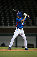 AZL Cubs 2 right fielder Ezequiel Pagan (32) at bat during an Arizona League game against the AZL Rangers at Sloan Park on July 7, 2018 in Mesa, Arizona. AZL Rangers defeated AZL Cubs 2 11-2. (Zachary Lucy/Four Seam Images)