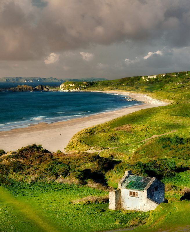 White Park Bay and small white structure. Northern ireland