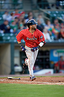 Boston Red Sox second baseman Dustin Pedroia (15), on rehab assignment with the Pawtucket Red Sox, runs to first base during a game against the Rochester Red Wings on May 19, 2018 at Frontier Field in Rochester, New York.  Rochester defeated Pawtucket 2-1.  (Mike Janes/Four Seam Images)