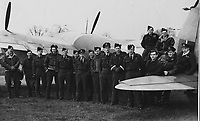 BNPS.co.uk (01202) 558833<br /> Pic: MarlowsAuctioneers/BNPS<br /> <br /> Pictured: 487 Aircrew.<br /> <br /> The medals of a hero of the legendary Operation Jericho raid who dive-bombed a Gestapo prison at just 10ft have sold for over £15,000.<br /> <br /> Flight Lieutenant Maxwell Sparks pulled off the daring manoeuvre during the daylight attack on the heavily-defended Amiens Prison in northern France in February 1944.<br /> <br /> Positioned third in the attack's first wave, he bombarded the German guards' quarters at 'tree-top height' then ascended just in time to miss the prison's roof.