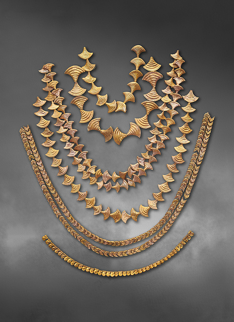 Mycenaean gold necklaces from the Mycenae chamber tombs, Greece. National Archaeological Museum Athens. Grey art Background <br /> <br /> From top to bottom: <br /> <br /> Top four  necklaces in the shape of papyrus flowers .<br /> <br /> Fifth necklace down in the shape of Ivy leaves from tomb 91 Cat No 3186<br /> <br /> <br /> Bottom necklace with beads in the shape of hangimng scrolls from tomb 25 Cat No 2478.