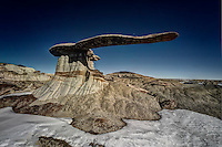 A large cantilevered sandstone slab defies gravity in the San Juan Basin of northwest New Mexico.
