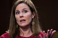United States Supreme Court justice nominee Amy Coney Barrett testifies on the second day of her Senate Judiciary Committee confirmation hearing in Hart Senate Office Building on Tuesday, October 13, 2020. <br /> CAP/MPI/RS<br /> ©RS/MPI/Capital Pictures