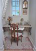 Custom Art Nouveau bath floor in Travertine White, Renaissance Bronze, Crema Marfil, Red Lake, Aegean Brown, Rosa Verona, Giallo Reale, Breccia Pernice