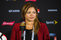 Orlando, Florida - Saturday, June 04, 2016: Acting CMO for Paraguay, Jacky Ramos, facilitates the press conference after a 0-0 draw during a Group A Copa America Centenario match between Costa Rica and Paraguay at Camping World Stadium.