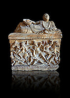 Etruscan Hellenistic style cinerary, funreary, urn ,  National Archaeological Museum Florence, Italy , black background