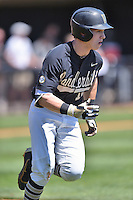 Vanderbilt Commodores designated hitter Ethan Paul (10) runs to first during a game against the Tennessee Volunteers at Lindsey Nelson Stadium on April 24, 2016 in Knoxville, Tennessee. The Volunteers defeated the Commodores 5-3. (Tony Farlow/Four Seam Images)