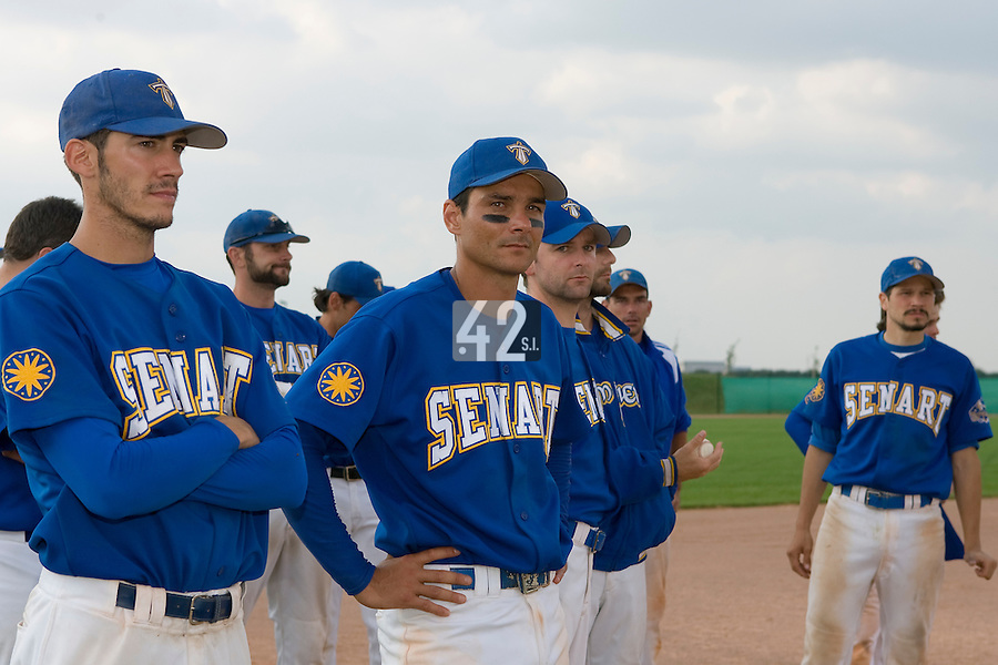 12 Aug 2007: Matthieu Brelle-Andrade, David Meurant, Jean-Christophe TinÈ, and Team Senart look dejected after game 5 of the french championship finals between Templiers (Senart) and Huskies (Rouen) in Chartres, France. Huskies defeated Templiers 9-8 to win their fourth french championship.