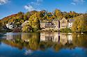 Cromford village and mill pond. Derbyshire, UK. October.