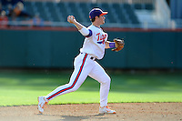 Shortstop Jason Stolz #2 of the Clemson Tigers makes a throw during  a game against the North Carolina Tar Heels at Doug Kingsmore Stadium on March 9, 2012 in Clemson, South Carolina. The Tar Heels defeated the Tigers 4-3. Tony Farlow/Four Seam Images.