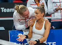 The Hague, The Netherlands, Februari 7, 2020,    Sportcampus, FedCup  Netherlands -  Balarus, Seccond match on friday:  Aranxta Rus (NED) is comforted bij Kiki Bertens (NED) (L) after loosing to Sabalenka<br /> Photo: Tennisimages/Henk Koster