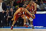 Galatasaray´s Arslan and Carter during 2014-15 Euroleague Basketball match between Real Madrid and Galatasaray at Palacio de los Deportes stadium in Madrid, Spain. January 08, 2015. (ALTERPHOTOS/Luis Fernandez)
