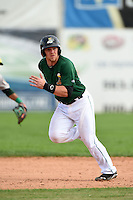Clinton LumberKings third baseman Joseph DeCarlo (5) running the bases during a game against the Beloit Snappers on August 17, 2014 at Ashford University Field in Clinton, Iowa.  Clinton defeated Beloit 4-3.  (Mike Janes/Four Seam Images)