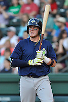 First baseman Dash Winningham (34) of the Columbia Fireflies bats in a game against the Greenville Drive on Saturday, April 23, 2016, at Fluor Field at the West End in Greenville, South Carolina. Columbia won, 7-3. (Tom Priddy/Four Seam Images)