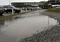General view of the entrance to Bromley FC showing the overnight rainfall during Bromley vs Brentford B, Friendly Match Football at Hayes Lane on 3rd October 2020