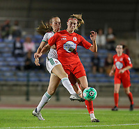Sari Kees (2) of OHL tries to take the ball away from Marie Bougard (10) of Woluwe during a female soccer game between FC Femina White Star Woluwe and Oud Heverlee Leuven on the fourth matchday in the 2021 - 2022 season of Belgian Scooore Womens Super League , Friday 10 th of September 2021  in Woluwe , Belgium . PHOTO SPORTPIX   SEVIL OKTEM
