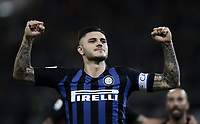 Calcio, Serie A: SS Lazio vs Internazionale Milano, Olympic stadium, Rome, October 29, 2018.<br /> Inter's captain Mauro Icardi celebrates after scoring his second goal in the match during the Italian Serie A football match between SS Lazio and Inter Milan at Rome's Olympic stadium, on October 29, 2018.<br /> UPDATE IMAGES PRESS/Isabella Bonotto