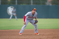 AZL Reds third baseman Juan Martinez (46) on defense against the AZL Athletics on July 16, 2017 at Lew Wolff Training Complex in Mesa, Arizona. AZL Athletics defeated the AZL Reds 13-5. (Zachary Lucy/Four Seam Images)