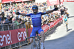 Julian Alaphilippe (FRA) Deceuninck-Quick Step wins the Strade Bianche 2019 running 184km from Siena to Siena, held over the white gravel roads of Tuscany, Italy. 9th March 2019.<br /> Picture: LaPresse/Gian Matteo D'Alberto   Cyclefile<br /> <br /> <br /> All photos usage must carry mandatory copyright credit (© Cyclefile   LaPresse/Gian Matteo D'Alberto)