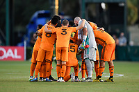 LAKE BUENA VISTA, FL - JULY 18: The Houston Dynamo starting XI huddle during a game between Houston Dynamo and Portland Timbers at ESPN Wide World of Sports on July 18, 2020 in Lake Buena Vista, Florida.
