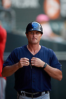 Mobile BayBears manager David Newhan (11) during a Southern League game against the Jacksonville Jumbo Shrimp on May 28, 2019 at Baseball Grounds of Jacksonville in Jacksonville, Florida.  Mobile defeated Jacksonville 2-1.  (Mike Janes/Four Seam Images)