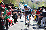 Kazakh Champion Alexey Lutsenko (KAZ) Astana Premier Tech tries in vain to catch Alejandro Valverde (ESP) Movistar Team during the Gran Premio Miguel Indurain 2021, running 203.2km from Estella to Lizarra, Spain. 3rd April 2021.  <br /> Picture: Luis Angel Gomez/Photogomezsport | Cyclefile<br /> <br /> All photos usage must carry mandatory copyright credit (© Cyclefile | Luis Angel Gomez/Photogomezsport)