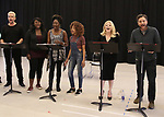 "Nick Cordero, Amma Osei, Amber Iman, Allison Semmes, Megan Hilty and Josh Radnor In Rehearsal with the Kennedy Center production of ""Little Shop of Horrors"" on October 11 2018 at Ballet Hispanica in New York City."